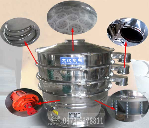 酱油全不绣钢振动筛分机的特点